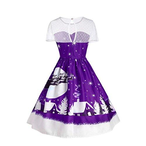 Ularma Femmes Vintage Noël O-Neck Imprimé Manches Courtes A-Line Swing Robe Violet
