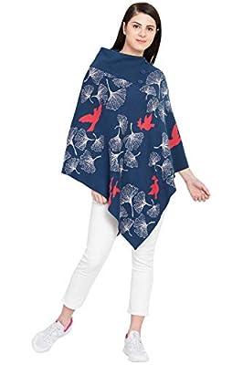 BOXYMOXY Bird Jacquard Poncho Sweater Pullover with Stylish Neck for Girls & Women Blue