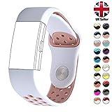 STAY Active Correas de Recambio para Fitbit Charge 2, Reloj Inteligente y Deportivo para Mujer y Hombre | Marca del Reino Unido - Deportiva (White & Pink, Small)