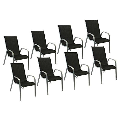 Happy Garden Lot de 8 chaises Marbella en textilène Noir - Aluminium Gris