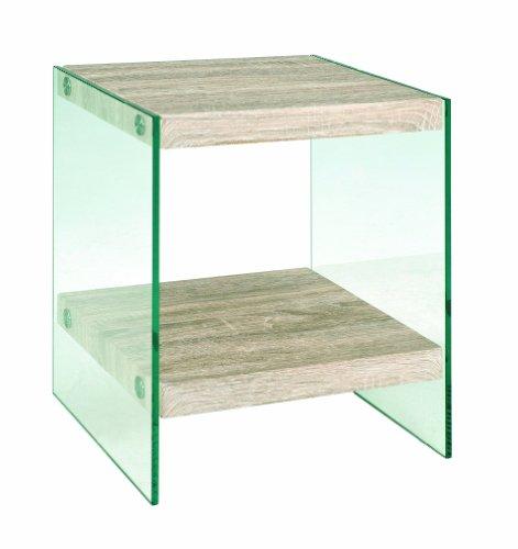 Haku Möbel 87093 Table d'Appoint MDF décor Chêne Clair et verre trempé transparent, 35 x 35 x 45 cm