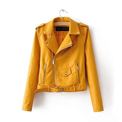 Damen Leder Jacke Frauen Kurz Lederjacke Casual Damenjacke Bikerjacke Pilotenjacke Retro Bomberjacke Cool Streetwear Mantel Outwear...