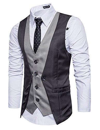 Leisure panciotto gilet uomo slim fit casual elegante smanicato matrimonio 2in1 blazer(niente camicia),grigio,xl