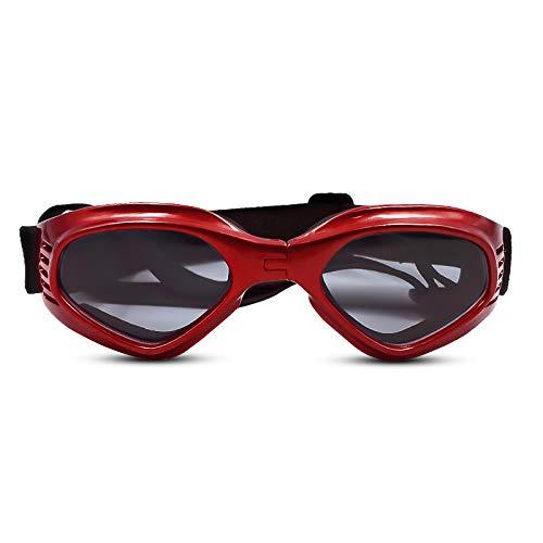 PEDOMUS Hunde Sonnenbrille Verstellbarer Riemen für UV-Sonnenbrillen Wasserdichter Schutz für kleine und mittlere Hunde Rot