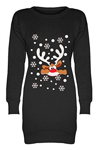 Oops Outlet Damen Weihnachten Bedruckt Fleece Gestrickt Sweatshirt Schneeflocken Weihnachten Elfen Santa Rentier Minikleid - Große Nase Rentier Schwarz, Übergröße (44/46)