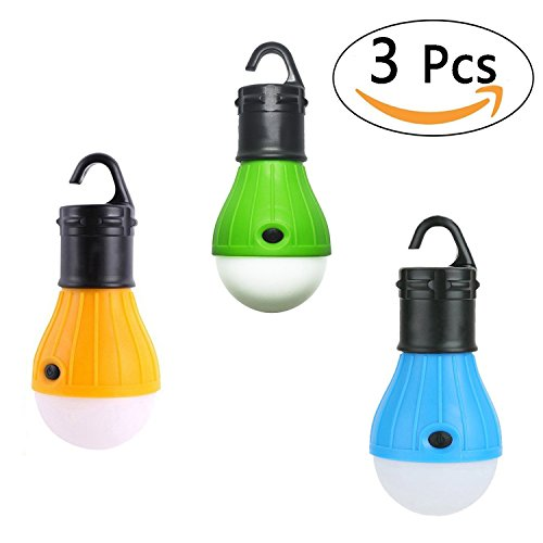 Cookey 3pcs LED Tent Lamp, Battery Powered Tent Light Outdoor Camping Portable Waterproof Lantern perfect for Backpacking Hiking Fishing Adventures (Mixed Color)