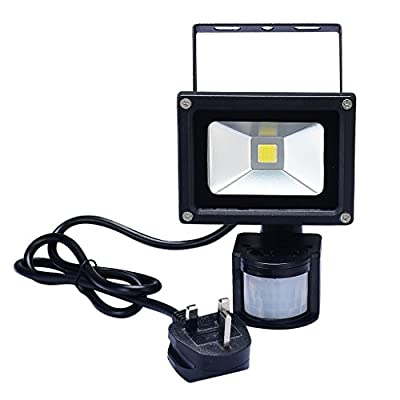 PryEU Waterproof 10 Watts LED Outdoor Motion PIR Sensor Security Wall Flood Lights 6000K Daylight Garden Spotlight with UK 3-prong Plug In produced by SMART SUPPLY - quick delivery from UK.