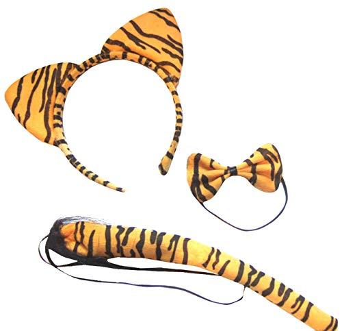 (Tiger Ears Tail & Bow Tie) Orange et noir À rayures de tigre d'animaux sauvages Oreilles bande...