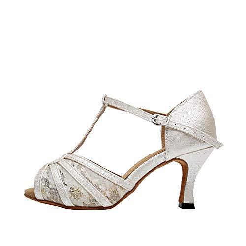 Jonact Damen Salsa Tanzschuhe Lateinische Ballsaal Schuhe Ausgestellte Hochhackig T-Riemen für Chacha Tango Tanzen Hochzeit (Ballroom Dance Schuhe Mit T-riemen)