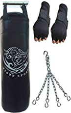 Byson Boxing Punching Bag with Hand Wrap and Chain for Seniors, 36-inch