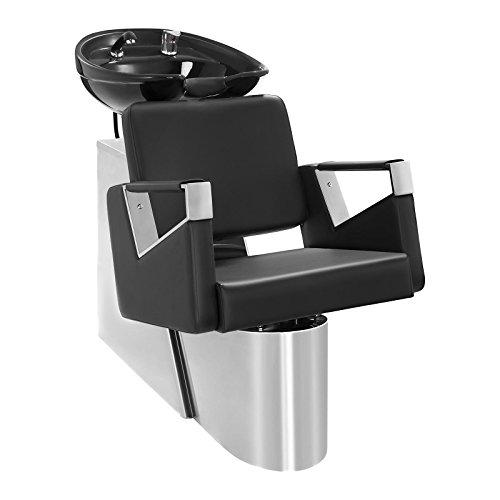 Physa sorrent lavatesta parrucchiere professionale con poltrona sedia parrucchiere (imbottitura espanso, ecopelle, lunghezza tubo 75 cm, lavandino 50,5 x 60 cm, ceramica) nero acciaio