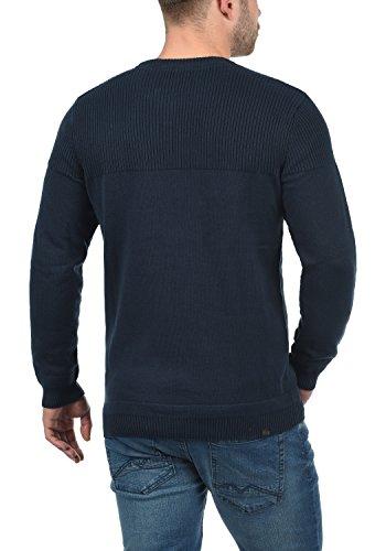 BLEND Franklin Herren Strickpullover Feinstrick Pullover mit Rundhals-Ausschnitt aus 100% Baumwolle Blue Nights (74627)