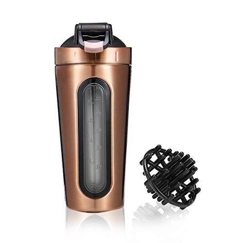 Slimerence shaker per proteine, bottiglia shaker con la palla misceratore per proteine, per fitness, allenamento, palestra e attività sportive, in acciaio inox
