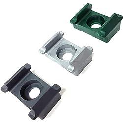 10 Stück Pfostenklammer aus Kunststoff im Farbton Grün / Kunststoff Auflageblock zur Befestigung von Stabgittermatten am Zaun-Pfosten mittels Schrauben und Blindnietmuttern