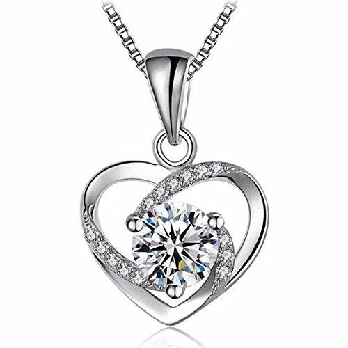 Halskette 925 Sterling Silber Anhänger Schmuck Geschenk mit Geschenkbox für Mädchen 45+5cm Kettenlänge (Ein Perfektes Kostüm Menschlichen)
