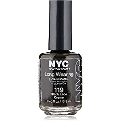 New York Color Long Wearing Nail Enamel, Black Lace Creme [119] 0.45 oz (Pack of 2)