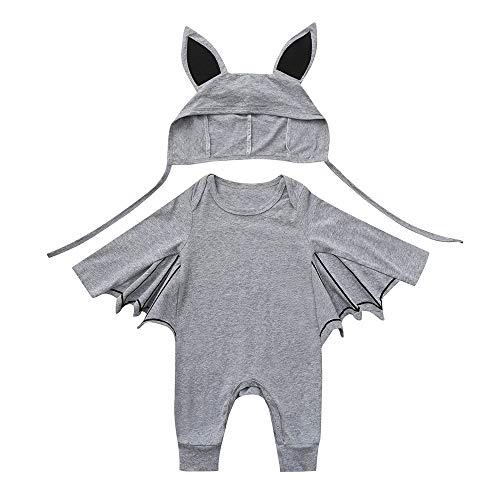 s MäDchen Baby Langarm Halloween Cosplay Fledermaus ÄRmel Strampler One Piece + Cartoon Ohr Hut Niedlich Niedlich Elastischen Knopf Urlaub Vollmond Hundert Tage Geschenk ()