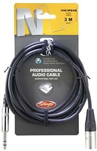Stagg 3m. Professional câble audio–Stéréo téléphone Plug/XLR M
