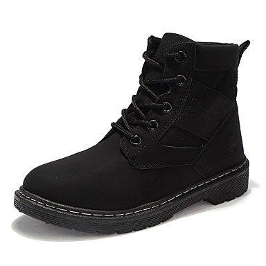 Rtry Femmes Chaussures Pu Printemps Automne Dans Le Confort De La Mode Bottes Bottes Talon Plat Bout Rond Lacets Pour Outdoor Décontracté Kaki Blanc Noir Us7.5 / Eu38 / Uk5.5 / Cn38