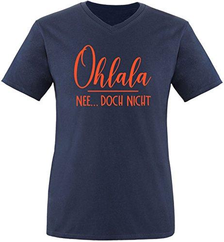 EZYshirt® Ohlala - Nee...doch nicht Herren V-Neck T-Shirt Navy/Orange