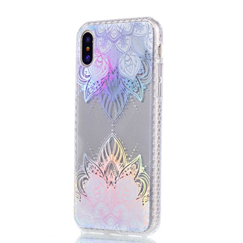 iPhone X Custodia, iPhone X Custodia, iPhone X Cover Silicone, JAWSEU Bella Luminoso [Shock-Absorption][Anti Scratch] Protectiva Bumper per iPhone X Cristallo Chiaro Cover Case Caso Ultra Sottile Legg Fiori di pizzo