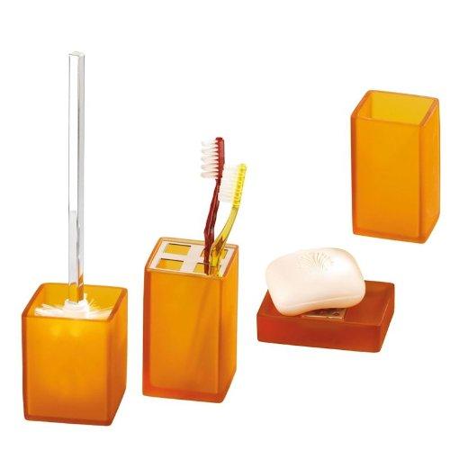 4 tlg. WENKO BAD SET Sorano orange gefrostet aus KUNSTSTEIN inkl. WC GARNITUR -