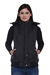 Trufit Sleeveless Solid Womens Black Quilted Removable Hood Polyetser Bomber Polyfill jacket