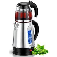 Elektrische Teemaschine Wasserkocher Teamaker Teeautomat Teekocher Caydanlik 2.200 Watt Fassungsvermögen: 1,7 Liter / 0,9 Literk