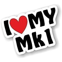 I Love Heart Luv My MK1design per MK1Escort Golf polo Sierra Astra corsa Saxo etc vinile adesivo per auto 110x 75mm