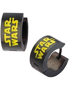 Star Wars VII: The Force Awakens Star Wars Logo Black Stainless Steel Huggie Earrings