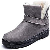 058955680f LIANGXIE Botas de Nieve de Moda para Mujer Botas de Invierno cálido Botas  Cortas Planas de Gran tamaño para Mujeres Ms Zapatos de algodón Tubo Corto  Botas ...