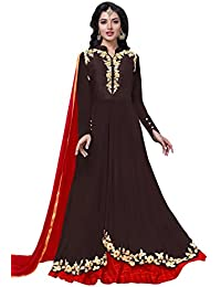 Lilots Georgette Brown Heavy Embroidery On Neck With Lace Border Semi Stitch Salwar Kameez