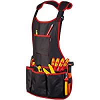 Delantal de trabajo de tela de NoCry, con 16 bolsillos para herramientas, totalmente ajustable, resistente al agua y protector, color negro