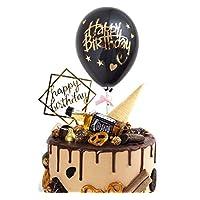 Happy Birthday Cake Topper Black Shape Balloon Cupcake Topper Confetti Balloon Birthday Cake Decorations for Baby shower, Birthday, Party