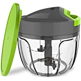 Home Puff Plastic 400 ml 3 Blade Vegetable Chopper and Cutter with Storage Lid (Green)