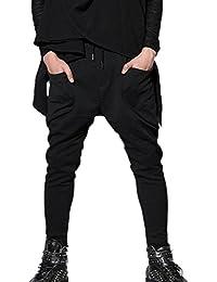 Panegy Harem Pantalones Drop Crotch Harén Harem Pantalón Moda Casual Deportivo Pantalón de Chandal Hip Hop Danza Rock Slim Fit Pantalones para Hombres Chicos Jóvenes Color Negro Talla M/L/XL a Elegir