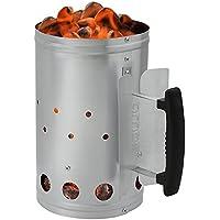 Aparato de encendido AMOS barbacoa BBQ briquetas carbón vegetal encendedor rápido inicio rápido camping encendedor de barbacoa acero galvanizado juego de iluminación con escudo de calor y mango termoplástico