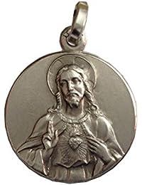 Medaglia del Sacro Cuore di Gesù In Argento Massiccio 925