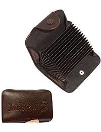 JunoBull Genuine Leather 13 Slots Credit, ATM, Debit Card case Cover Holder Wallet for Men & Women Holders Wallets - Coffee Brown