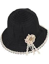 Gespout Cappello di Paglia Donna Estivo Primavera Ciondolo Fiore in Pizzo Cappello  da Sole Tesa Larga 3e669bb55cb2