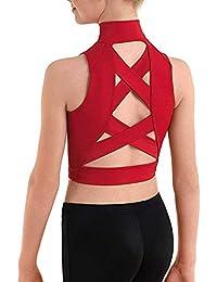 Agoky Gilet de Sport Enfant Fille Ado Haut de Danse Ballet Tops Gymnastique  Patinage Yoga Caraco sans Manche Débardeur Fitness… 25e1a46cba2