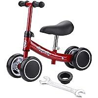 Prima Bicicletta Bambina Senza, Balance Bike Regolabile Equilibrio Training Mini Bike Scooter Walker Scooter in Ferro per 1-2 Anni(Rosso)