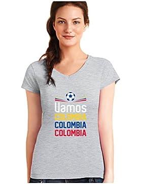 Green Turtle T-Shirts Camiseta de Cuello V para Mujer - Apoyemos a la Selección Colombia en el Mundial!