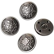 YaHoGa 10 Piezas Antiksilber Botones Metalicos 25 mm Botones para Trajes Chaquetas Abrigos Uniforme