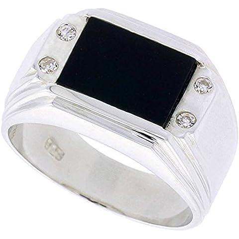 """Revoni-Collana in argento Sterling, forma rettangolare, colore: nero Onyx-Anello da uomo, con doppia scanalatura Corners & 4 pietre di zirconia cubica, 1/(2 5,08 cm (12"""") mm)"""