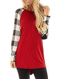 Wolfleague T-Shirt Femme Hiver Chaud Pullover Pas Cher A La Mode Tops  Rayure Col 78e99dc523e