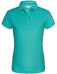 JITIMAO Polo de Golf para Niñas Seco Ajuste Camisa con Mangas Cortas para 5-15 Años Edad, Transpirable Rendimiento Deporte Camiseta Slim Fit Verde-150