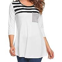 Damen T Shirt,Geili Frauen Lose Casual Stripe Patchwork 3/4 Ärmel Tasche Bluse Damen Rundhals T Shirt Sommer Herbst... preisvergleich bei billige-tabletten.eu