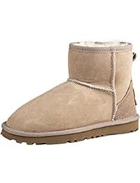 Shenduo Scarpe Invernali - Stivali da Neve di Pelle Pecora Classici a Gamba  Corta con Lana 6a3256a98c8