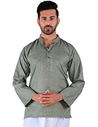 BDS Chikan Cotton Green Kurta for men's Lucknowi Chikan Work - BDS00913